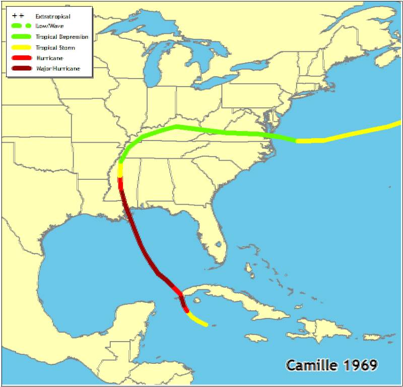 Hurricane camille affected areas